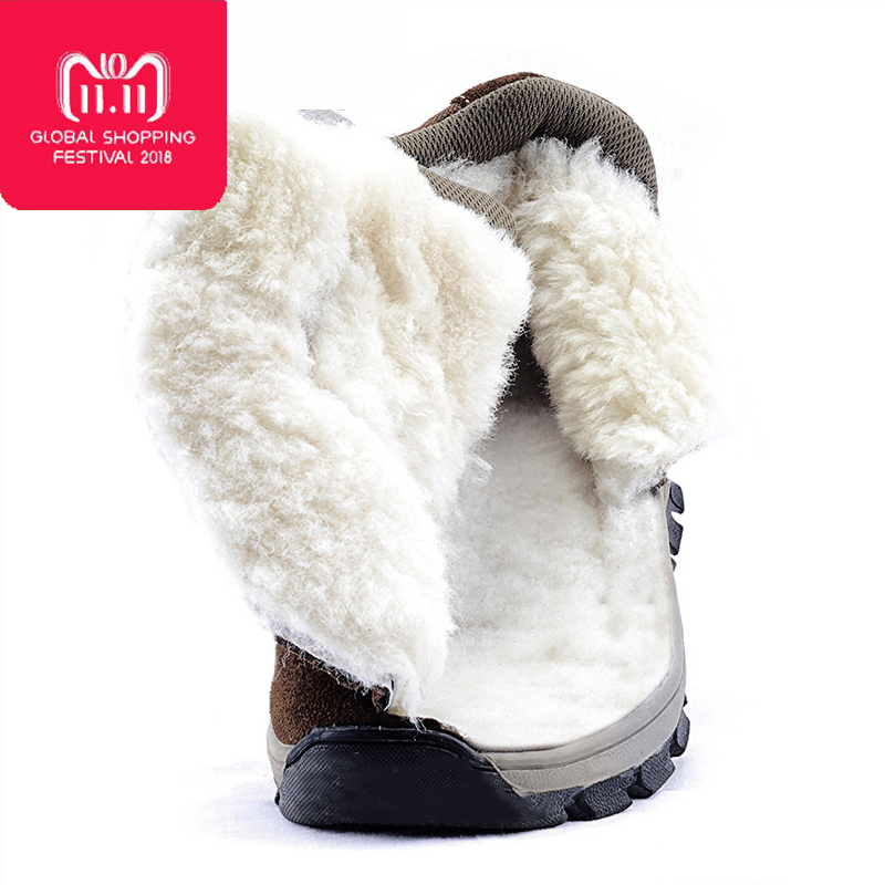 Men boots 2018 winter genuine leather shoes warm thick wool men ankle snow boots non-slip winter boots for -40 degrees elevator shoes taller 2 56 inch winter genuine leather men boots fashion warm wool ankle boots men snow boots shoes hot sale