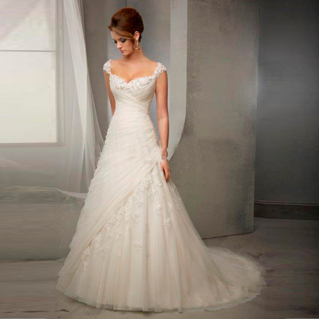 Elegant Lace Wedding Dresses V neck Vintage Wedding Dresses Floor ...