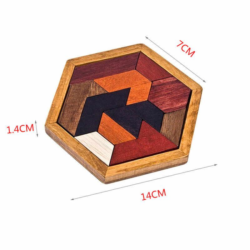 الألغاز الخشب هندسية شذوذ شكل لغز ألعاب خشبية Tangram بانوراما مجلس مونتيسوري التعليمية هدايا للأطفال الأطفال