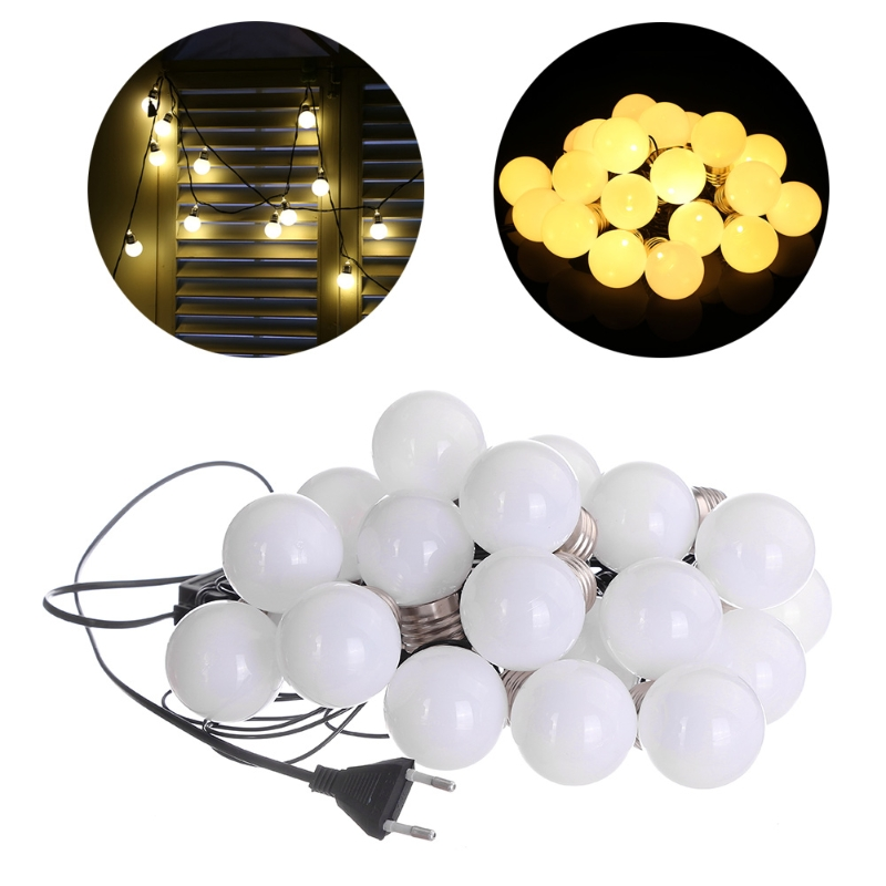 Outdoor LED Christmas Fairy String Light 6m G45 20 Globe Connectable Festoon Ball Party L15