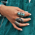 Artilady boho jewelry turquoise ring fashion Bohemia antic silver turquoise rings for women jewelry party