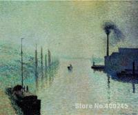 Canvas Art Reproduction Lacroix Island, Rouen, Fog Camille Pissarro Paintings for sale hand painted High quality