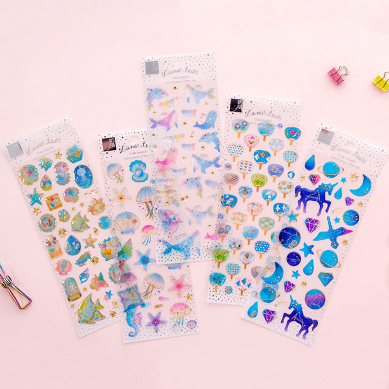 Stationery Stickers DIY Cute 3D Stickers Gold Crystal Unicorn Stickers Creative Star Stickers Decorations Scrapbooking Diary