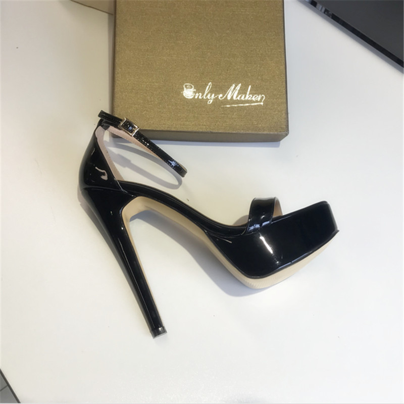 2019 Summer Women's Sexy Open Toe Platform Stiletto Sandals Single Band Patent Leather Ankle Buckle Strap Party Dress Shoes