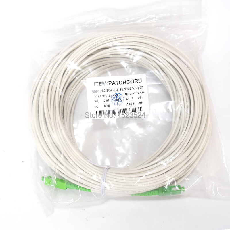 White Color Sm Sx Pvc 3mm 50 Meters Sc Apc Fiber Optic Jumper Cable Patch Cord In Equipments From Cellphones
