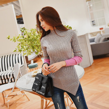 Dabuwawa New Turtleneck Splicing Sweater Ladies Women Slimming Patchwork Color Irregular Hem Sweater Top D18DJS003 raw hem geo pattern crop sweater