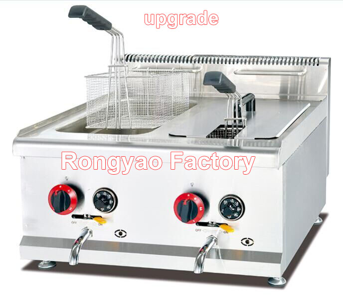 GF 72A Industrial KFC LPG gas double fryer 14L/tanks 2 baskets With stainless steel material