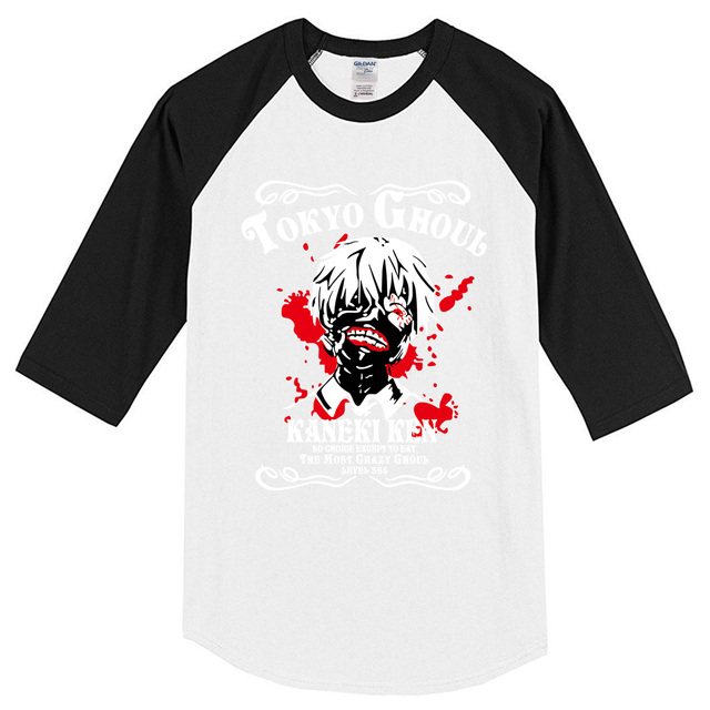 Anime Tokyo Ghoul fashion men's T-shirts hip hop clothing top raglan t shirt Summer T-shirt three quarter sleeve