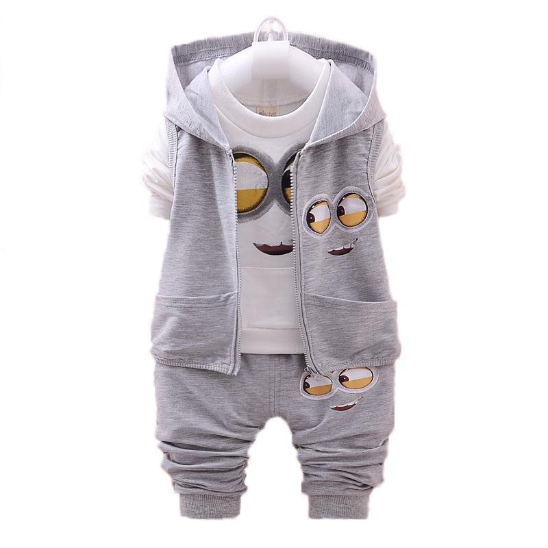Spring/Autumn Baby Boy Clothes Minion Suits Infant/Newborn Clothes Sets Kids Vest+T Shirt+Pant 3Pcs Sets Children MKBCCL016