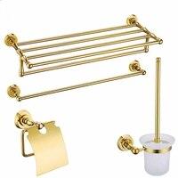 Gold Brass Copper High quality 4PCS/Set golden bathroom ware Bathroom hardware accessories Set