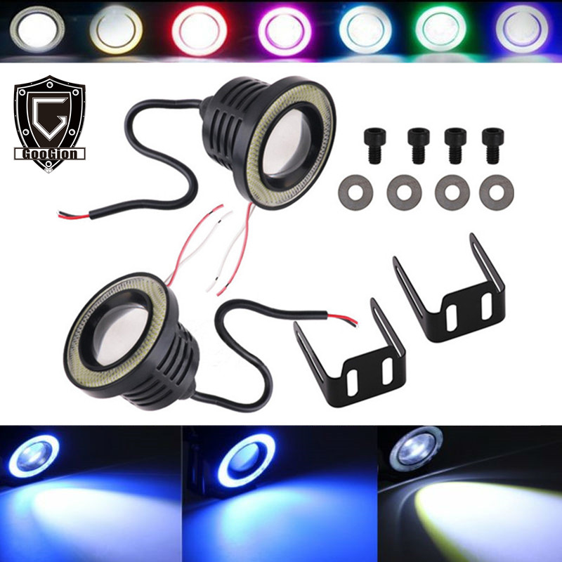 GOOGION Auto LED Nebel Lichter Engel Augen Tagfahrlicht RGBW 2,5/3,0/3,5 zoll Objektiv DRL COB LED Motorrad Scheinwerfer