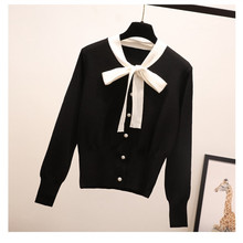Women Sweater Pullovers Knitted Sweater Coat Long Sleeve Crochet Female Casual Bow Neck Woman Tops Pull Femme new sweater women cardigan knitted sweater coat long sleeve female casual o neck woman cardigans tops pull femme