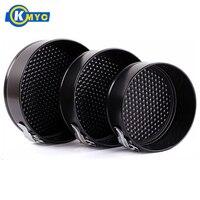 KMYC 3Pcs/Set Carbon Steel Multi Layer Fondant Cake Pan with Buckle Cake Tins Pizza Dish Tray Detachable Biscuit Baking Pan Dish