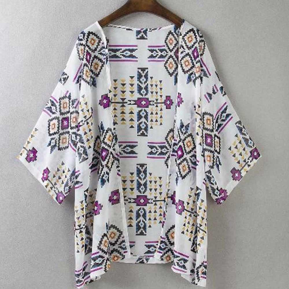Сексуальные женские цветочные шифоновые геометрические Свободные шаль кимоно кардиган пальто в стиле бохо куртка блузка Swimwe ar Пляжная накидка блузка dres s