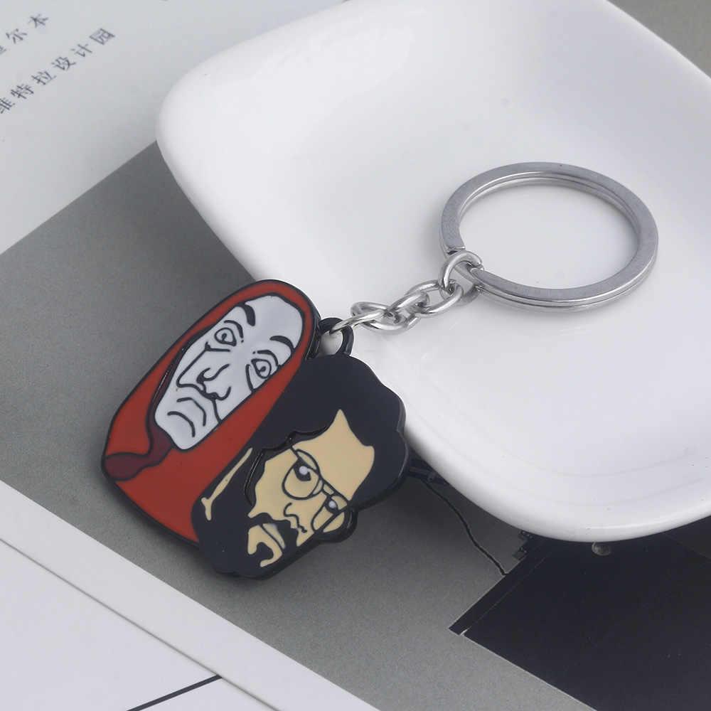 SG Hot espagne TV La Casa De Papel 3D masque porte-clés maison De papier porte-clés vol d'argent Salvador Dali drôle tour De cou Cosplay bijoux