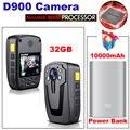 El Envío Gratuito! D900 32 GB HD 1080 P IR de Bolsillo Cuerpo de Policía Leva de La Cámara Mini DV + 10000 mAh Banco de la energía