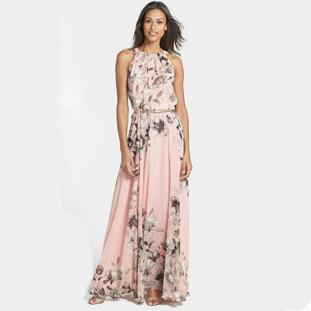New Ladies Summer Long Maxi Evening Party Dress Beach Dresses Sundress Size  6-20 vogue Floral O-Neck Casual dress 7e6bb6db333d
