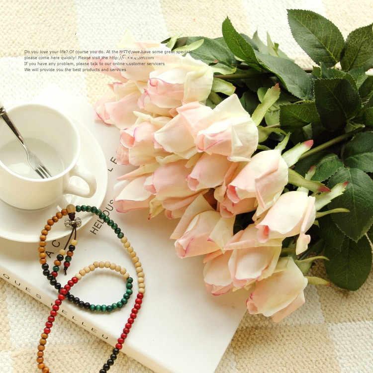 Gratis Pengiriman (11 Pcs/lot) Segar Bunga Mawar Buatan Sentuhan Nyata Mawar Bunga rumah Dekorasi untuk Pesta Pernikahan atau Ulang Tahun