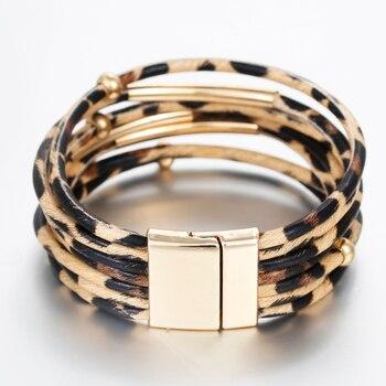 Amorcome Leopard Leather Bracelets & Bangles Elegant Multilayer Wide Wrap Bracelet Jewelry 3
