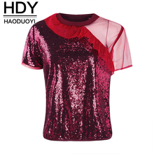 HDY Haoduoyi Women T-shirt Short Sleeve Patchwork Falbala Sequin Grenadine Summer Tops Casual Sweet Brief 2019 New Arrival