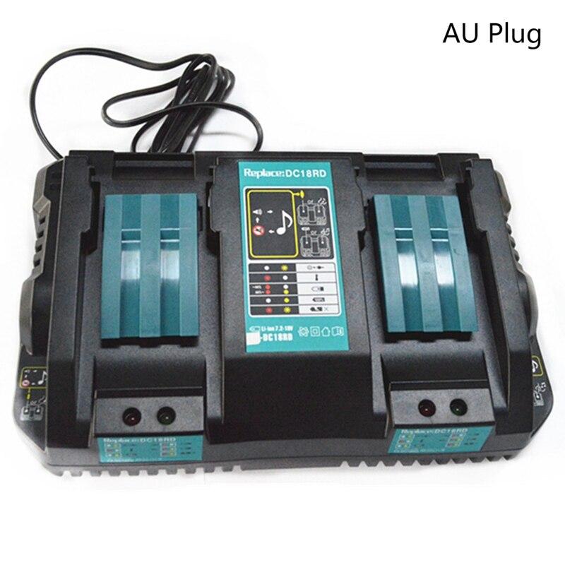 Double Battery Charger For Makita 14.4V 18V BL1830 Bl1430 DC18RC DC18RA AU Plug dawupine dc18rct li ion battery charger 3a 6a charging current for makita 14 4v 18v bl1830 bl1430 dc18rc dc18ra power tool