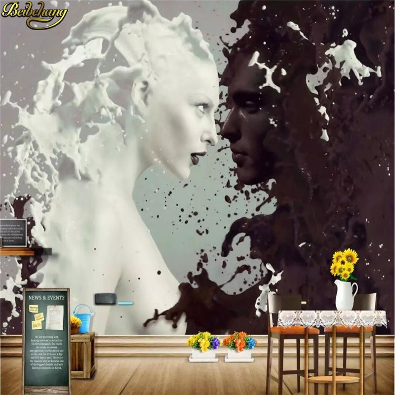 Beibehang Custom Milk Chocolate Character Lover Photo Wallpapers For Wall 3 D Living Room Bedroom Tea Shop Bar Cafe Walls Murals