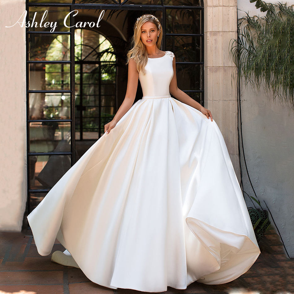 Ashley Carol Elegant Scoop Backless Satin Wedding Dress 2019 Appliques Sleeveless Court Train A-Line Simple Princess Bride Dress
