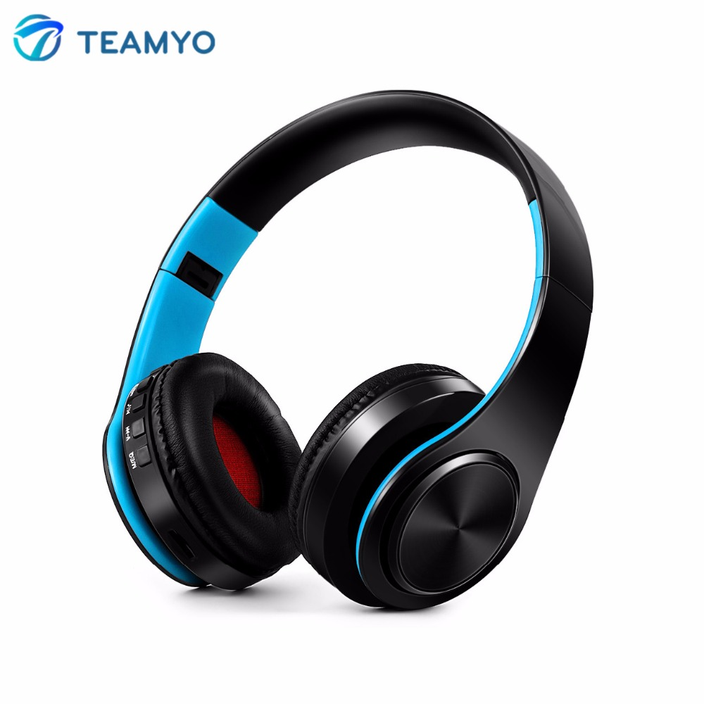 Teamyo Bluetooth Headphones Wireless Stereo Headset Foldable Bluetooth Handsfree Headphone Earphones Support SD Card With Mic high quality csr8635 chipset stereo headphone with mic speaker headset foldable bluetooth 4 1 headphones