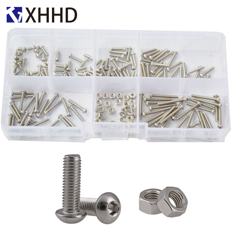 230pcs M2 Metric Hex Socket Button Head Screw Bolt Nuts Assorted Stainless Steel