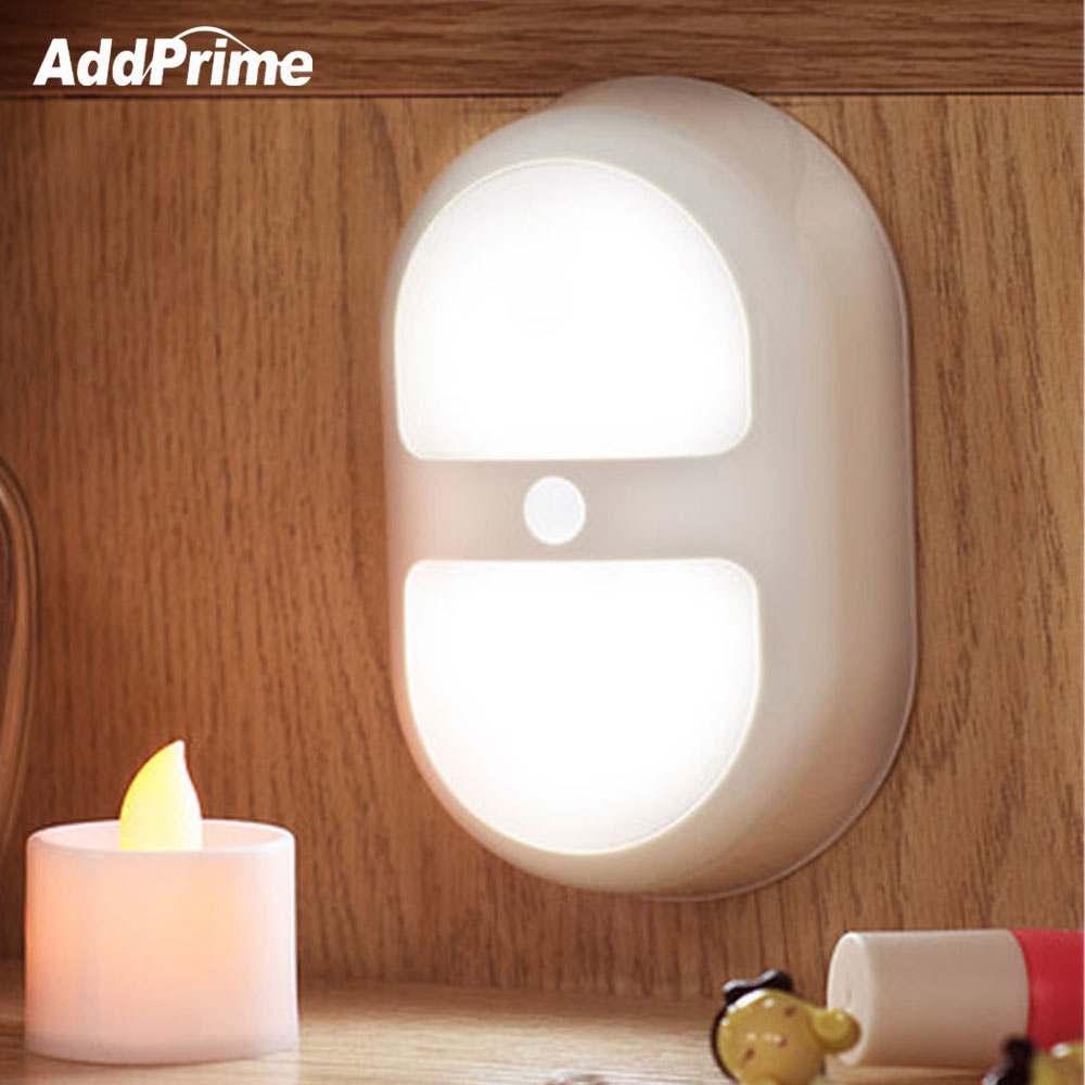 10 LED PIR Body Motion Sensor Activated LED Night Light Bedside Lamp Wall Closet Corridor Cabinet LED Sensor Light 2*AA Battery