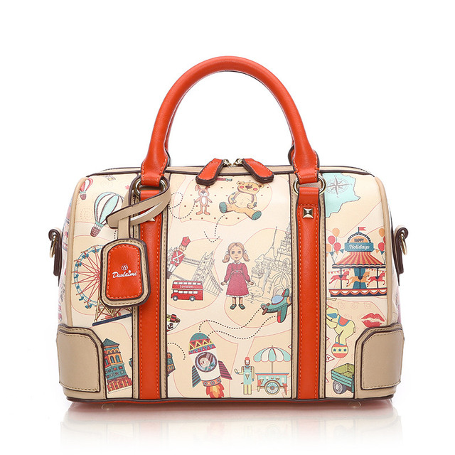 New Summer Orange Boston Pillow Bag Cartoon Printing Handbag Shoulder Messenger Bag Casual Tote