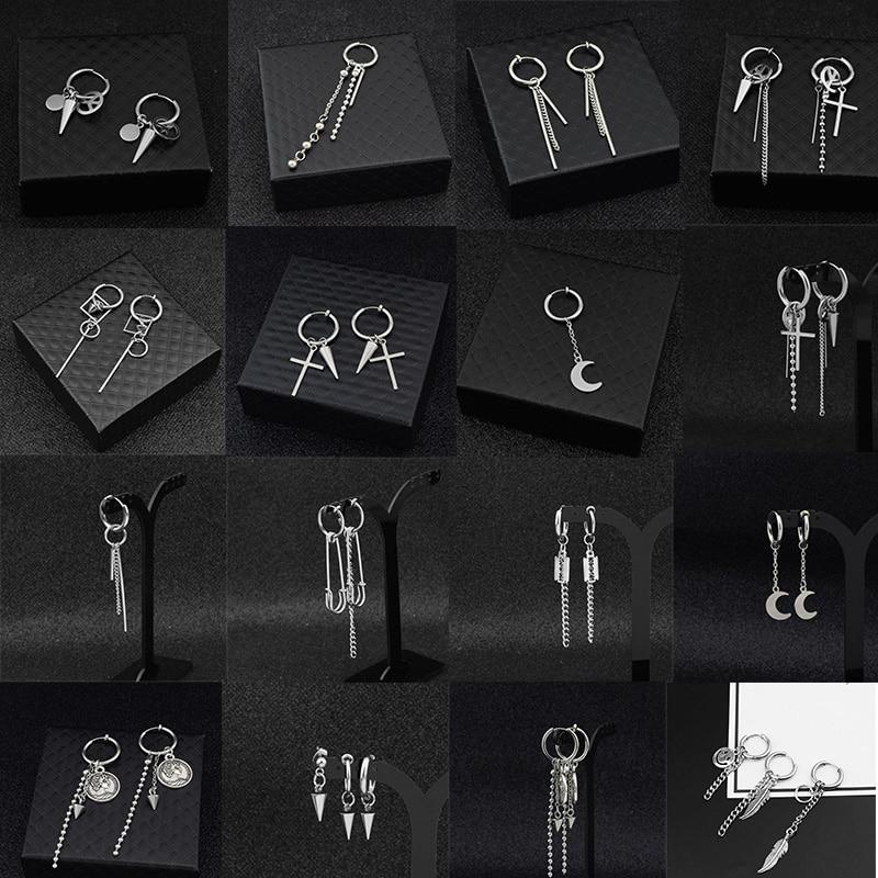 SOHOT Hot Dangle Long Tassel Unisex Hoop Earrings Punk Metal Jewelry Brincos Silver Color Star Cross Pendant Exaggerate Design(China)