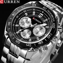 Curren relógio de pulso masculino, relógio de marca de luxo de quartzo em aço inoxidável, casual, militar, esportivo, vestimenta para homens, novo 2018