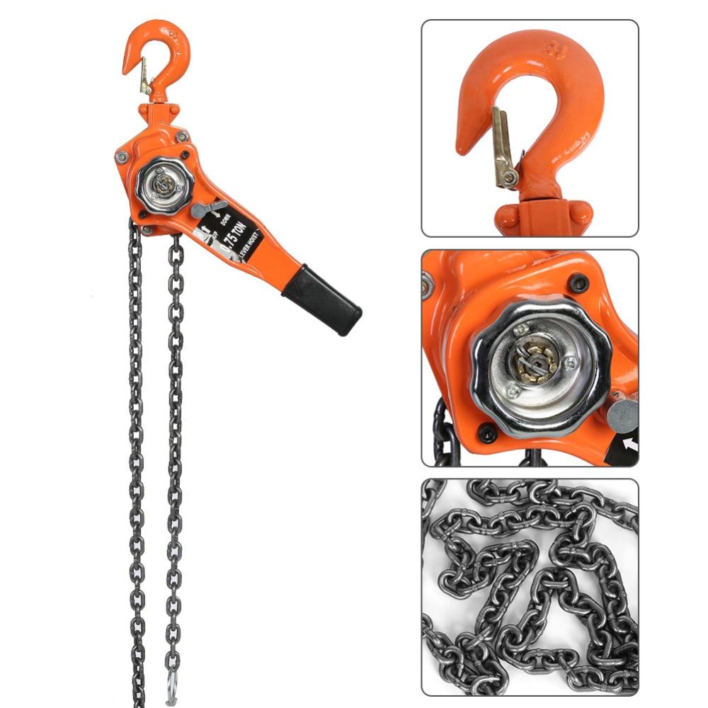 1 Set Alloy Steel 1.5Ton 10ft Lever Chain Hoist Ratchet Puller Lifting Equipment Pulley Hoist Car Styling