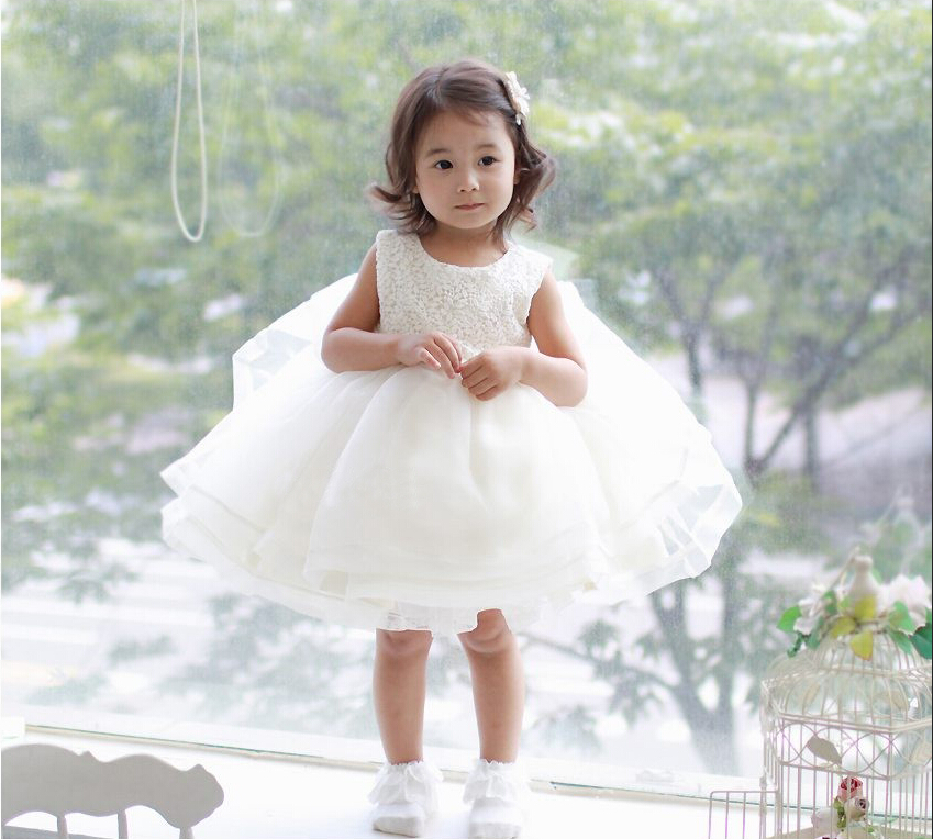 White Christening Infant Kids Dress Girl Clothes For