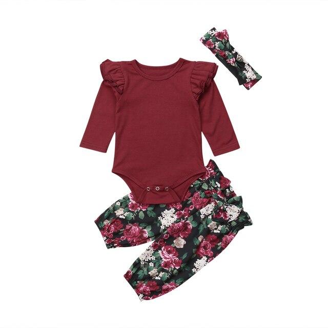 4732a431505d Newborn Baby Girls Floral Clothes Sets Jumpsuit Bodysuit Tops Long Sleeve  Bodysuits Pants Headbands Outfits Sets