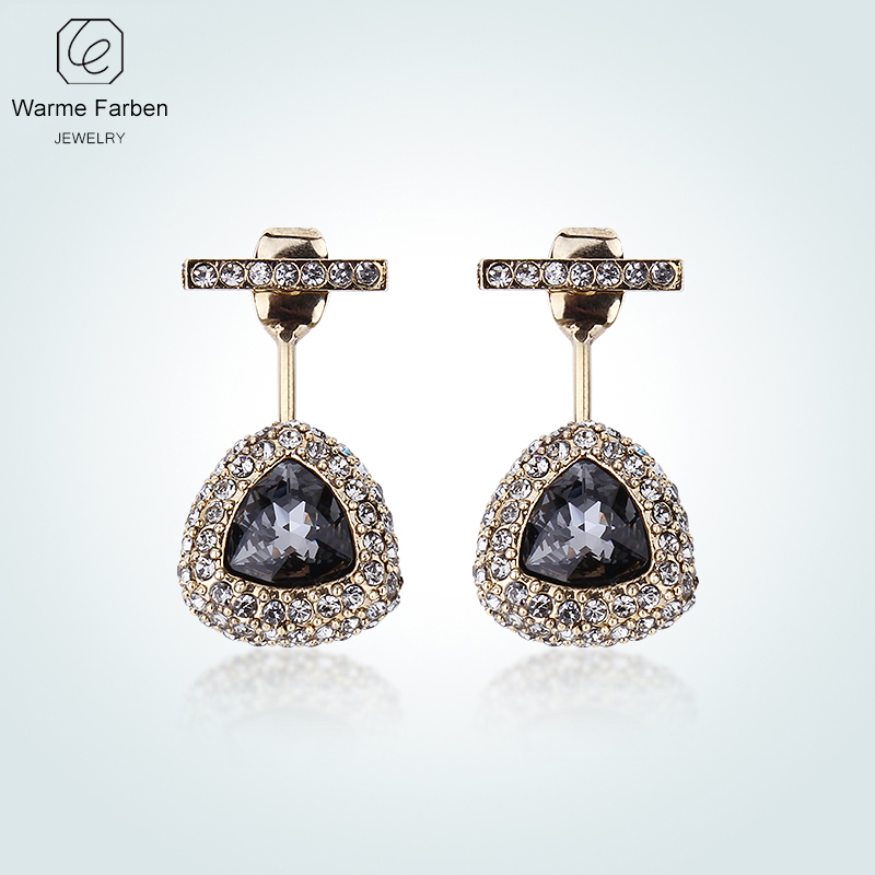 все цены на WARME FARBEN Crystal From Swarovski Women Earrings Retro Gold Color Black Crystal Inlaid Zircon Water Drop Dangle Brincos Female