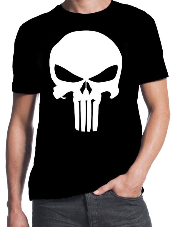 The Punisher Inspired Classic Skull Logo Comic Book Action Movie New T-Shirt 100% Cotton T Shirts Brand Clothing Tops Tees image