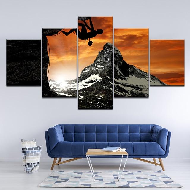 Toile imprime photos mur Art cadre décor à la maison 5 panneaux extrême sport escalade peintures coucher de soleil paysage affiches