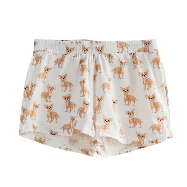 Women's Cute Corgi Cartoon Print Casual Shorts Loose Lounge White Elastic Waist Stretchy Cotton Plus Size B79502J