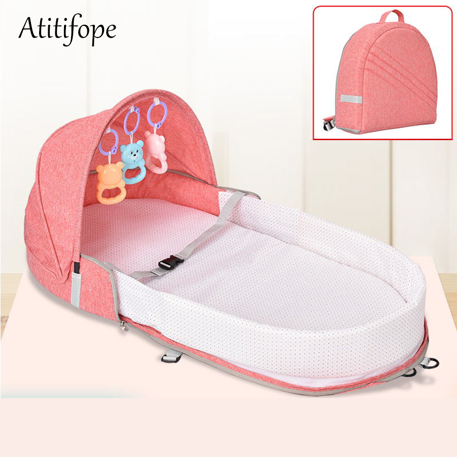 Portable Baby Bed Multi-function Crib Fashion Mummy Bag Travel Baby Cirb With Sunshade And Mosquito Cover(China)