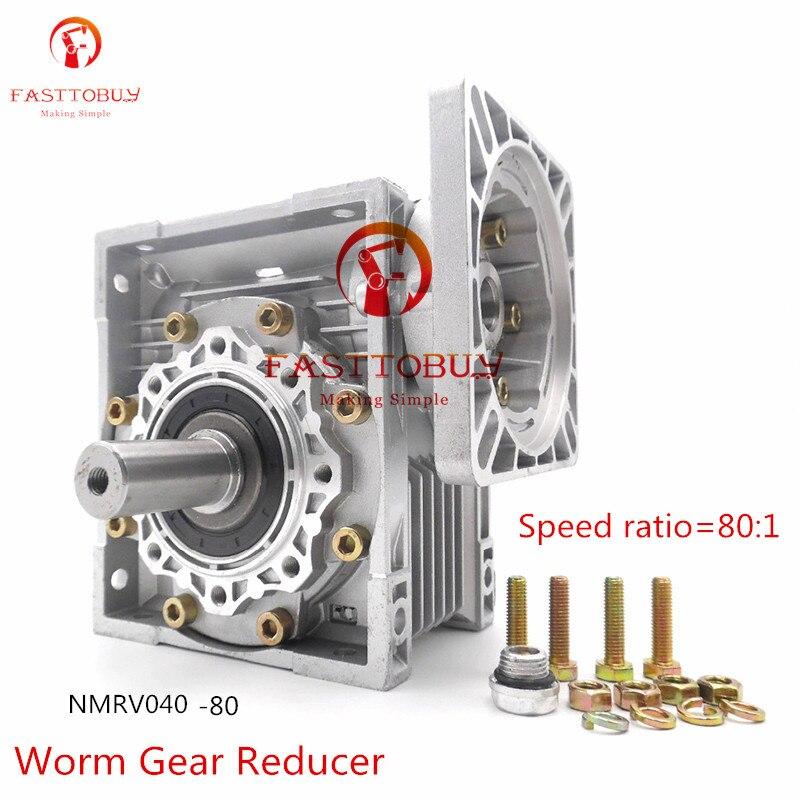 цена на Speed Ratio 80:1 High Quality NMRV040 Worm Gear Reducer, RV40 Gearbox with Output Shaft for NEMA24/32/34/36 Stepper/Servo Motor