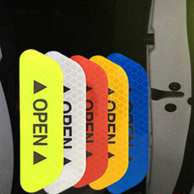 Car OPEN Reflective Tape 4Pcs/Set Warning Mark Reflective Open Notice Bicycle Accessories Exterior Car Door Stickers