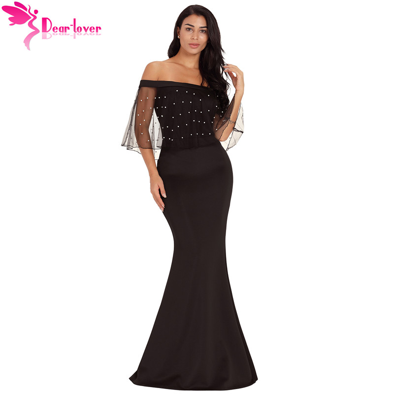 1bb7c260395 Dear Lover Sexy Off Shoulder Long Dress 2018 Women Pearl Mesh Flounce Black  Mermaid Party Dress