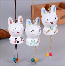 Bunny Ceramic Fenghua car hanging home door and window ornaments couple gift Japanese wind chimes