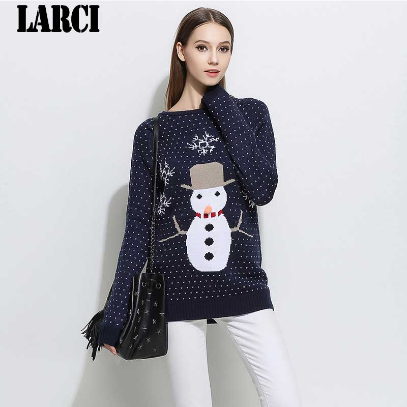 LARCI 2018 Christmas cartoon Women Sweaters O-neck Fashion Winter Wool Pullover Cashmere Knitted Sweater Warm Flannel L0607037