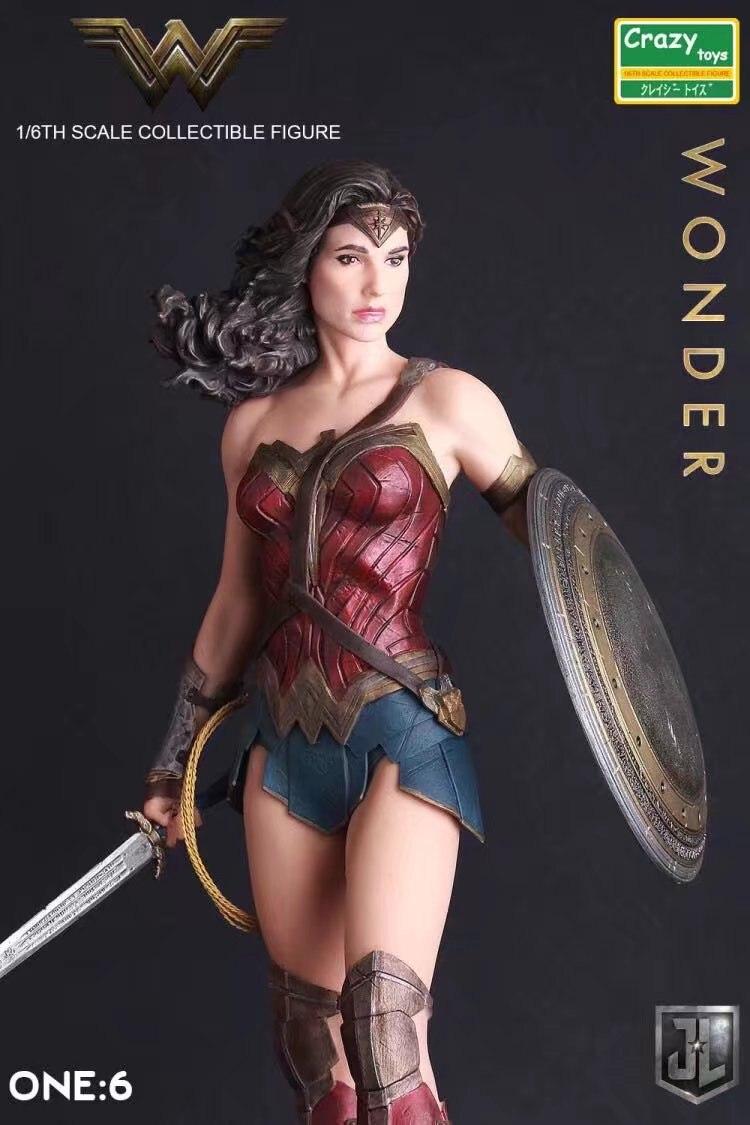 Brinquedos loucos 1:6 dc liga da justiça super herói maravilha mulher pvc figura de ação collectible modelo brinquedo 12 polegada 30cm
