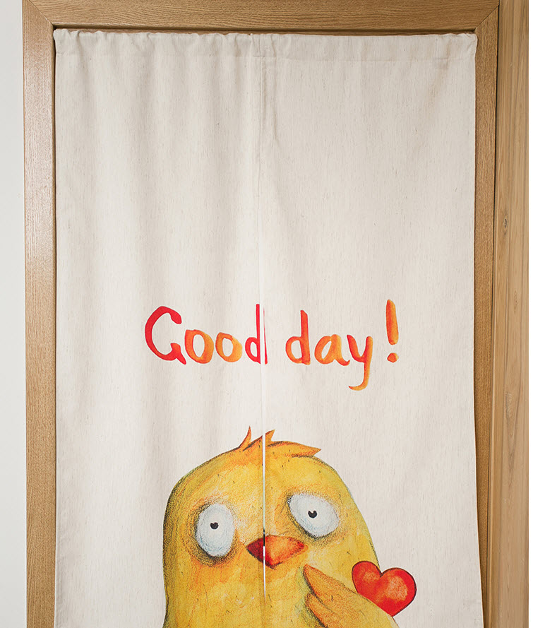 Small Yellow Chicken Sun Shade Cotton Curtain Kitchen Bedroom Living Room Entrance Cloth Curtains Home Decoration
