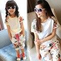 2015 del verano del estilo babymmclothes girls mujeres florales set kids sport suit madre e hija ropa mamá y yo conjunto