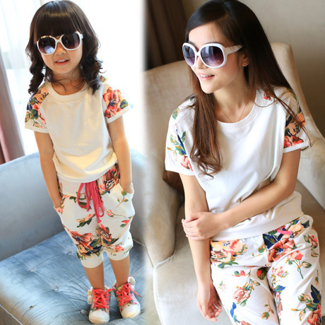 2015 summer style babymmclothes girls women floral clothing set kids sport suit mother and daughter clothes mommy and me set
